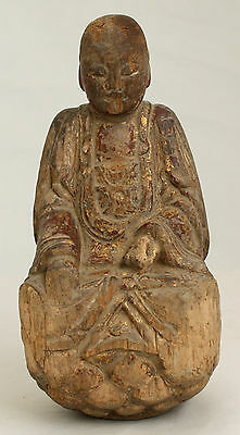 Chinese Qing Gilt Carved Wood Seated Buddha Figure Carving