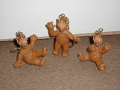 RETRO 1980s ALF (ALIEN LIFE FORM) SET OF THREE FIGURE KEYRINGS RUSS