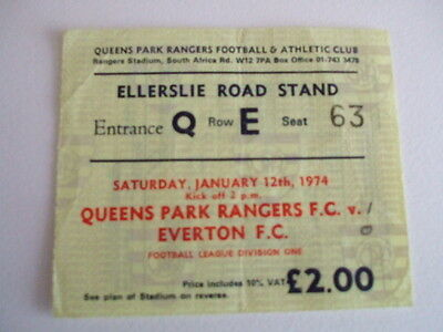 QUEENS PARK RANGERS v EVERTON 12th JANUARY 1974 MATCH DAY TICKET LEAGUE DIV 1
