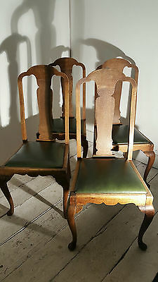 Set Four Oak Framed Vinyl Dining Chairs Drop In Seats Christmas