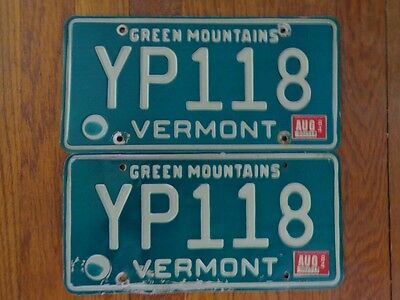 1984 Vermont License Plates PAIR # YP118 Auto Tags Mancave Green Mountains