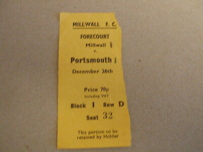 MILLWALL v PORTSMOUTH 26th DECEMBER 1973 MATCH DAY TICKET LEAGUE DIV 2