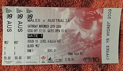 Wales V Australia Rugby Union Ticket Invesco Perpetual Series November 2009