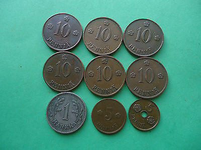 Lot Of 9 Finland  Coins (1920 - 1941)
