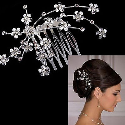 Wedding Bridal Bridesmaid Prom Party Silver Crystal Flower Hair Comb Tiara Slide