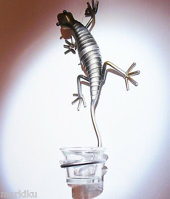 Unique Tin lizard Gecko reptile, tea  candle holder wall mount mounted metal
