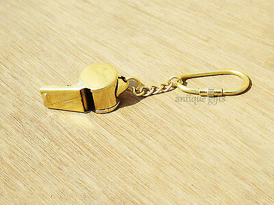 BRASS Police Bobby Barrel Whistle Cop Key ring GIFT ITEMS