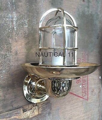 Vintage Style New Nautical Brass Light With Shade 2 Pieces