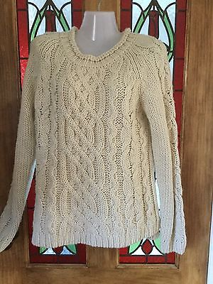 Chunky Knit Aran Style Cable Knit Jumper Cream Size 14
