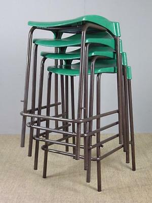 10 x Green Vintage Industrial Stacking School Lab Science Cafe Bar Stools