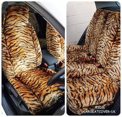 Nissan 370Z  - Gold Tiger Faux Fur Furry Car Seat Covers - Full Set