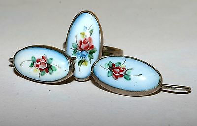 Soviet Set of Earrings Ring HAND PAINTED Silver Plated USSR Antique AMAZING!