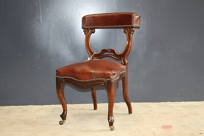Wonderfull Antique Smokers Chair, Oak with Tan Leather Upholsty castors