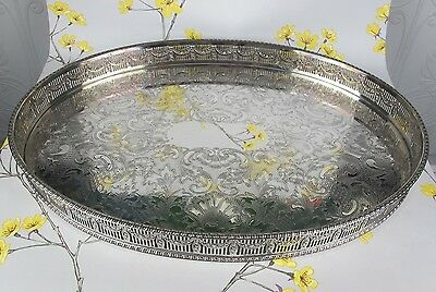 VINTAGE SILVER PLATED CHASED OVAL GALLERY SERVING TRAY by E.H.Parkin, Sheffield.
