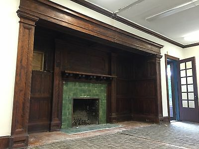 Giant Fireplace Surround 100 Years Old Panelling Mantle 15 Ft Wide Castle Sized