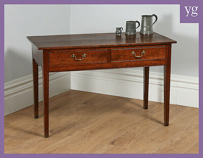 Antique English Georgian Oak Side / Hall / Serving / Writing / Occasional Table