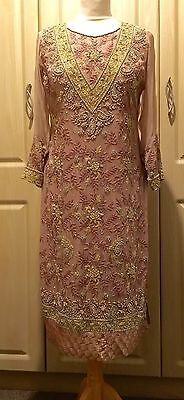 ladies shalwar kameez - Dusky Pink Embroided - Size Small