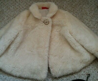 Girls tigerlily cream faux fur swing cape coat age 5 years