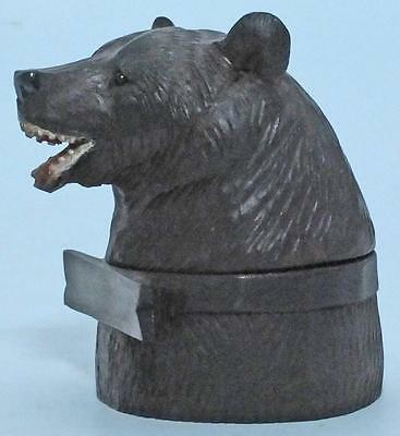Excellent Antique Carved Treen Wooden Black Forest Bear Inkwell With Liner