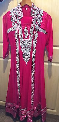 Ladies Shalwar Kameez - Pink With Diamantes - Size Small - RRP £250.00