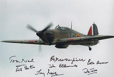 WW2 HURRICANE multi signed Battle of Britain ACES x 7 (a)