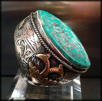 Massive Vintage Near Eastern Islamic Seal Ring Carved Turquoise Tughra Intaglio