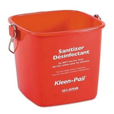 San Jamar Kleen-Pail, 6qt, Plastic, Red - Includes 12 per case.