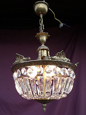 @  Lovely Vintage French Halllight Porchlight Sac A Perles With Glass Crystals