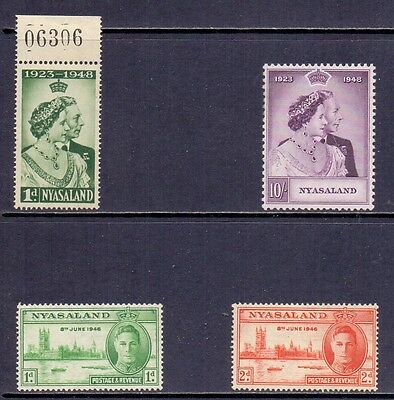 Nyasaland Protectorate. 2 LH Mint Victory and 2 NH Mint KG6 Wedding stamps