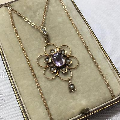 Antique 9ct GOLD Amethyst & Seed Pearl Edwardian Fancy Necklace - EXC Chain 5.2g