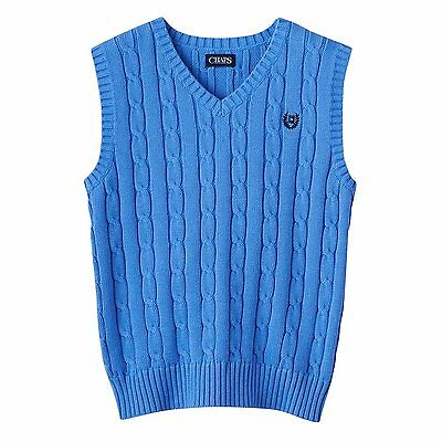 Chap's Boys Small (8) Baby Blue V-Neck Sweater Vest Cable Knit Top NEW