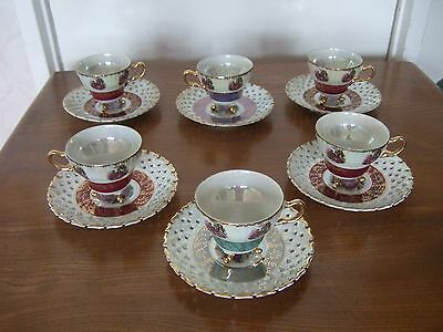 French Tea Set (6 Cups & Saucers) Retro / Vintage / Gift - Exc Condition