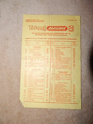 Triang TT scale price list 1st January 1960 4th edition