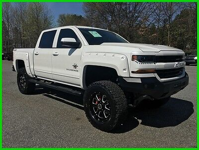 "2016 Chevrolet Silverado 1500 Pearl White! 2016 Silverado Z71 Crew 4wd Black Widow Pkg 6"" Lift LED Lights 20"" Wheels on 35s"
