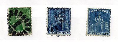 Barbados QV 1860s Set of 3 Classic Stamps Used X4608