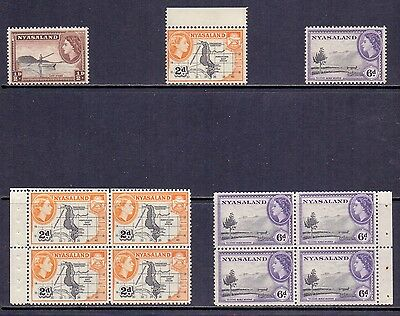 Nyasaland Protectorate. 3 NH QE2 stamps with new perfs and 2 booklet panes.