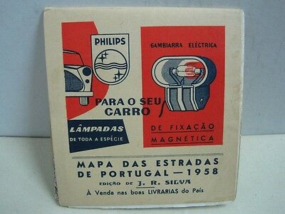 1958 Portugal map with Philips advertising