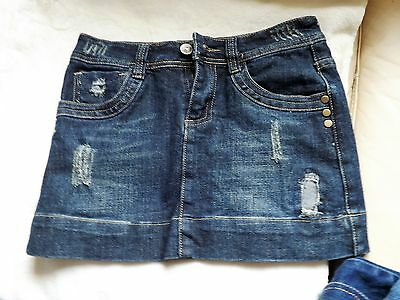 Girls 11-12Yrs Denim Skirt With Ripped Patched Destressed Design
