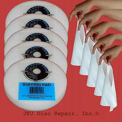 5 JFJ Easy Pro Buffing Pads - Plus 5 FREE REUSABLE CLOTHS