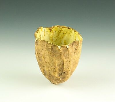 Eileen Graham Hand Moulded Organic Cup Yellow Streaked Glaze Inside