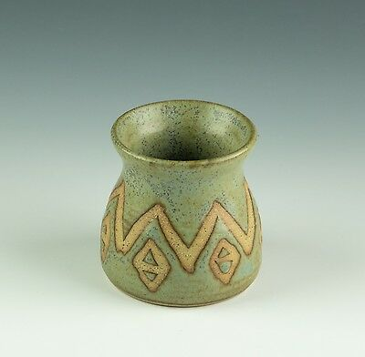 Unknown Potter Bud Vase Blue/green Glaze With Wax Relief Pattern