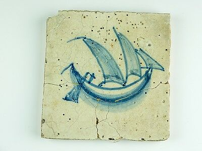 Tile With Boat Design Unknown Source