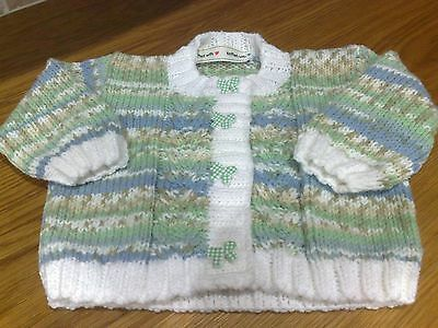 Girls hand knitted cardigan 0-6 months 'new'