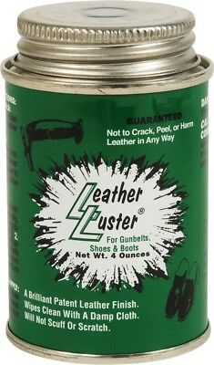 Leather Luster High Gloss Long Lasting Black Polish 4 oz for Boots, Shoes, Belts