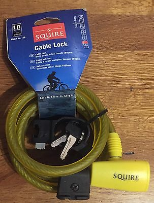 Squire Cable Lock In Yellow - 116 - 1800mm Long - 2 Keys