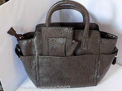 Wholesale Job Lot Faux Snakeskin Handbag in Brown with matching purse