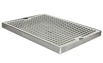 "Kegco SESM-189D 18"" x 9"" Surface Mount Drip Tray with Drain"