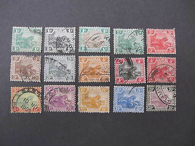 Federated Malay States 15 Tiger stamps to 20c good/fine used - good cat