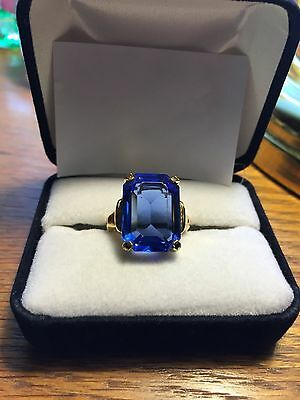 "Vintage ""Vendome""  Faceted Beautiful Dark Blue Glass Stone Cocktail Ring"