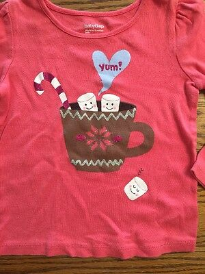 Baby Gap Toddler Girls Size 3T Holiday Hot Chocolate Pink Long Sleeve T-Shirt